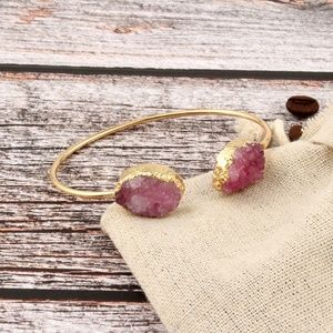 Pink Druzy bangle open cuff Gold bracelet